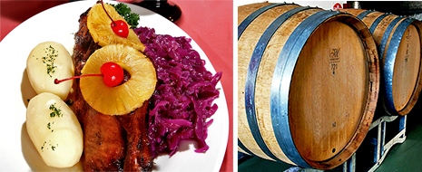 half a duck and wine barrels